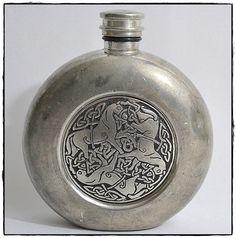 Vintage St. Justin Celtic Pewter Flask Horse Design by DodiesDrawer on Etsy