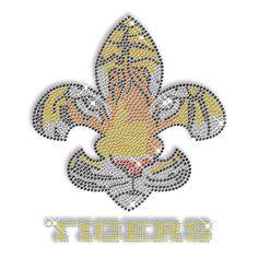 Fleur-de-lis shaped tiger rhinestone transfer design.