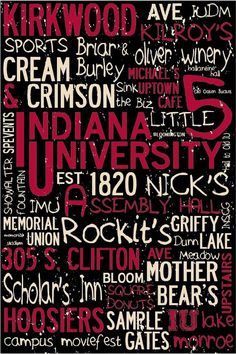 Indiana University IU Custom Landmark Print 36 by ImprintedLiving.