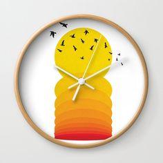 Sunset Yellow to Orange Birds Wall Clock by diana_ioana Orange Bird, Wall Clocks, Hand Coloring, Natural Wood, Cool Designs, Wall Decor, Birds, Artists, Traditional