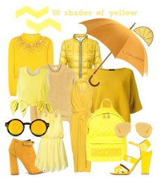 """#yellowTrend"" by nancykou on Polyvore featuring Miu Miu, FAY, Acne Studios, Roberto Collina, Rick Owens, Hermès, Moschino, MSGM, WithChic and Laurence Dacade"