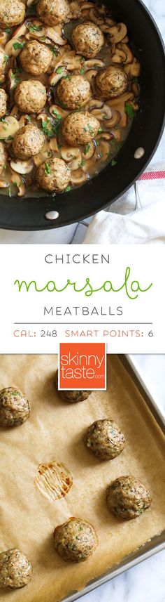These Chicken Marsala Meatballs are a fun twist in the classic dish! Great served over butternut squash or egg noodles. #chickenmarsala #chickenmeatballs #weightwatchermeatballs #weightwatcherrecipes #recipe #chickenmarsalameatballs #glutenfree #kidfriendlydinner #easychickenrecipe