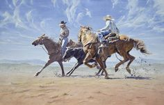 """'Catching a Runaway' 18"""" x 28""""  $4800 by Israel Holloway."""