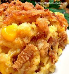 CORN CASSEROLE: CORN CASSEROLE stick butter C flour 1 C chicken stock C milk C sour cream 1 box Jiffy cornbread mix 2 eggs 1 C frozen corn kernels 2 serrano peppers, chopped 1 C shredded cheddar cheese 1 C french-fried onions Salt and pepper to taste Corn Recipes, Side Dish Recipes, Vegetable Recipes, Great Recipes, Dinner Recipes, Favorite Recipes, Recipies, Potluck Recipes, Interesting Recipes