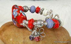 Lampwork bracelet - Purple Poppies, by katinn on Etsy.