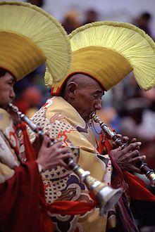 Gelug monks in Spituk Monastery during the Gustor Festival