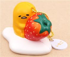 cute Gudetama egg yolk with strawberry squishy charm kawaii 2
