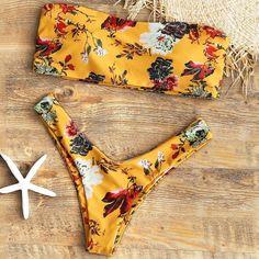 Floral Bandeau Two Piece Bikini Set