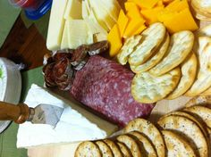 Cheese and meat platter for wine party.