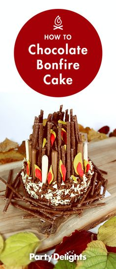Learn how to make this delicious ...♥♥... and super easy bonfire cake for Guy Fawkes Night (Bonfire Night).