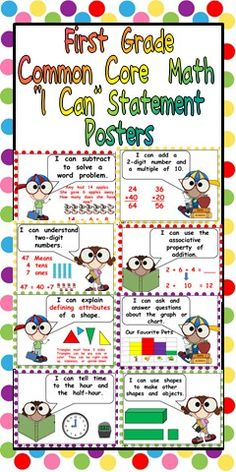 First Grade Common Core Standards MATH Posters $ can put these on cut outs that the kids can color and put up when they master a standard