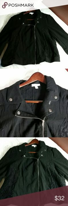 Black asymmetrical cloth zip up jacket NWT All black with silver metal zipper, pulls, and accents. Sides have lined lace insets. Jacket zips asymmetrical in moto jacket style. Free from any damage, defect or stain. Never been worn. Jean Paul Richard Jackets & Coats