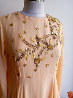 Bias Cut Georgette Gown with Long Flared Sleeves and Delicate Zardozi work Latest Embroidery Designs, Kurti Embroidery Design, Hand Embroidery Dress, Embroidery Suits, Zardozi Embroidery, Dress Neck Designs, Blouse Designs, Rajasthani Dress, Hand Work Design