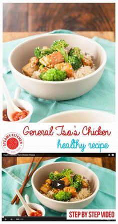 Healthy General Tso's Chicken Recipe with step-by-step video | Steamy Kitchen ~ http://steamykitchen.com
