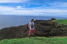 Lenny enjoying the view of the landscape of Point Binurong natural landmark on Catanduanes Island, Philippines.