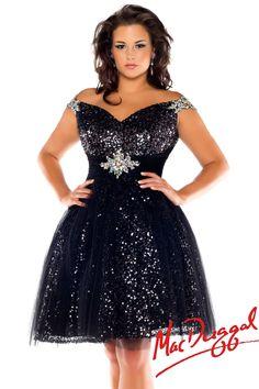 f55996af0c1 Mac Duggal 2014 Plus Size Prom Dresses - Black Sequin   AB Stone Cocktail  Dress - Unique Vintage - Prom dresses