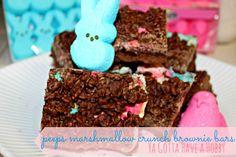 Peeps Marshmallow Crunch Brownie Bars from Ya Gotta Have a Hobby @yagottahave