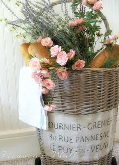 Heaven's Walk: Vintage French Market Baskets--Chalk paint grey linen then white watered down over wicker. Use French address stencil on painter's cloth.