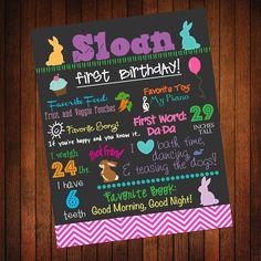 Custom Birthday Poster: Bunny/Easter. $36.00, via Etsy.