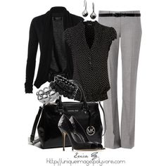 Look at those shoes!!!!!  Perfect look for work! Black & Light Gray, created by uniqueimage on Polyvore