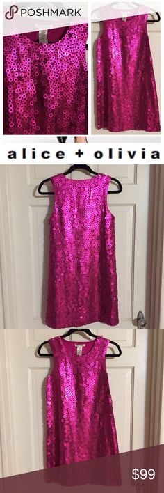 "Alice + Olivia Circle Sequin Party Dress. Sz XS Alice + Olivia Circle Sequin Party Dress. Sz XS.  Perfect for New Years Eve or any holiday party. You will be pretty in pink. Bust: 16"" flat across front. Length 36"". Silk lined. Fabulous.  Worn once. Excellent condition.  Side zipper. Alice & Olivia Dresses"