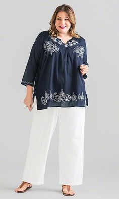 Sash Embroidery Blouse in Navy / Mother's Day Fashion & Gifts / MiB Plus Size Fashion for Women