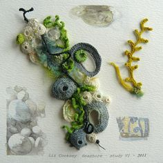 Excellent examples of applique and embroidery by Liz Cooksey:  http://www.lizcooksey.com/