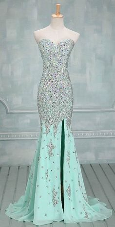 DIYouth.com Handmade Full Beaded Silver Stones Sexy Champagne Mermaid Evening Prom Dresses With Slit in Front,Mermaid evening dresses,beading prom dress, sweetheart graduation dresses, sexy cocktail dress