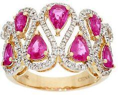 QVC Pear Cut Mozambique Ruby & Diamond Wide Ring, 14K 2.00 cttw
