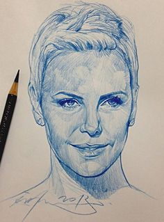 """Charlize Theron"" - Alvin Chong, color pencil, 2013 {figurative art female head woman face portrait sketch drawing #loveart} artofalvin.com"