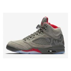 best cheap b2bb9 bf6d6 Classic Air Jordan 5 REFLECTIVE CAMO Basketball Shoes Grey Red Camouflage  136027-051
