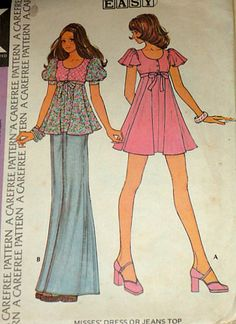Vintage 1970s McCall's 3682 Sewing Pattern. Made several tops from this pattern.
