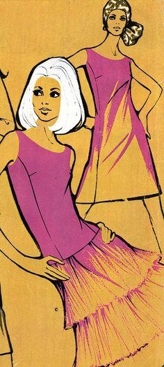 1970 vintage fashion illustration