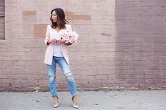 Pink Blazer and Boyfriend Jeans (via Bloglovin.com )