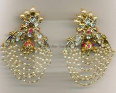 Gold Earrings / Jhumkis / Chandbali - Gold Chand Bali Earrings with Rubies, Emeralds and Pearls , Floral Pacchi Big Diamond Jhumka with Detachable Stud, Gold Pachi Ruby Emerald Detachable Jhumka Indian Jewelry Earrings, Fancy Jewellery, Antique Earrings, Wedding Jewelry, Gold Jewelry, Jewelery, India Jewelry, Latest Jewellery, Trendy Jewelry