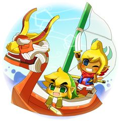 The Legend of Zelda: The Wind Waker / Toon Link, Tetra, and The King of Red Lions / 「ゼルダ無双 参戦おめでとおお」/「水穂@みずほ」のイラスト [pixiv]