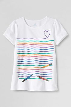 Short Sleeve Blue Girl T Shirt Kids Clothing Illustration