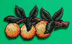 orange iron on patches fruit | Iron On Patch Applique - Orange Branch-