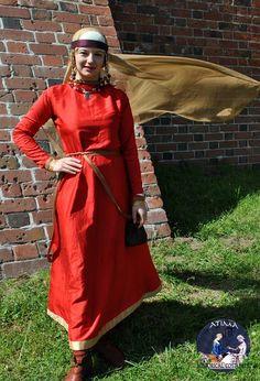 Rus - Silk dress with silk hems, and tablet -weaving, silk veil and kerchief