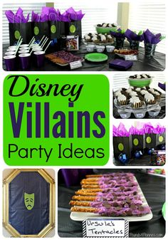 Check out how to host a Disney Villains Party. Includes party decoration ideas, food and menu planning ideas and much more Disney Villain party ideas. Perfect for a Disney theme Halloween party. 6th Birthday Parties, Birthday Party Decorations, Party Themes, Party Ideas, Disney Party Decorations, 8th Birthday, Birthday Ideas, Birthday Table, Theme Parties