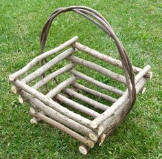 Square Basket with Tapered Sides  With its tapered sides, this 4-sided willow twig basket is as unique as it is strong and durable.  Add a blanket, a bottle, two glasses and some cheese for a romantic getaway!