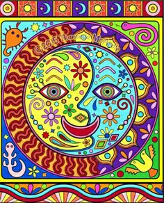 The Folk Art Coloring Book features 30 illustrations inspired by folk art from around the world, such as a Kokeshi doll, Hamsa, Huichol yarn painting & more! Moon Coloring Pages, Coloring Book Art, Mandala Coloring, Adult Coloring, Yarn Painting, Rock Painting, Art Supply Stores, Madhubani Art, Fish Drawings