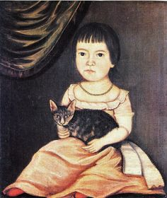 The Beardsley Limner (American painter, active 1785-1805, possibly Sarah Bushnell Perkins 1771-1831) - Child Posing with Cat, 1790s