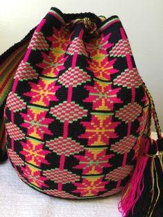 AUTHENTIC MOCHILA WAYUU LARGE SINGLE THREAD 1 Hebra HANDMADE CROSS BODY BAG