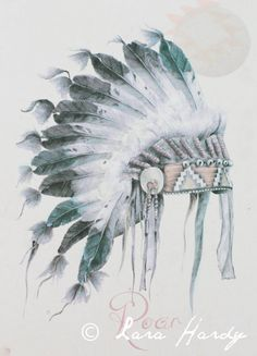Native American Art Print - Tribal Illustration Original Artwork, Headdress Wall Art Home Decor, Tribal Feathers Art Print ,Archival Print