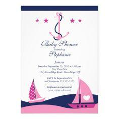 Modern Nautical Sailboat Baby Shower Invitation