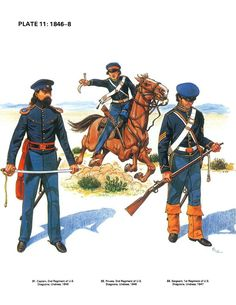 American; 2nd Regiment of Dragoons, Captain and Dragoon, Undress, 1846 & 1st Regiment of Dragoons, Sergeant, Undress, 1846