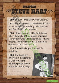 Kelly Gang Wanted Posters - Steve Hart Kelly's Heroes, Famous Outlaws, Ned Kelly, Victoria Australia, Posters, Gangsters, Teaching, Titanic, History
