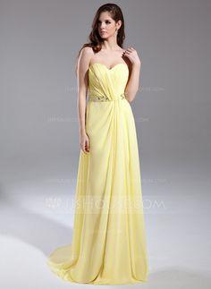 Prom Dresses - $132.69 - A-Line/Princess Sweetheart Sweep Train Chiffon Prom Dress With Ruffle Beading (018015643) http://jjshouse.com/A-Line-Princess-Sweetheart-Sweep-Train-Chiffon-Prom-Dress-With-Ruffle-Beading-018015643-g15643