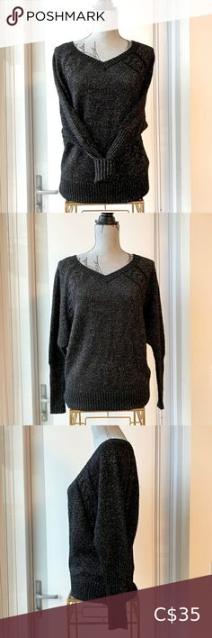 GUESS Black Gold Shimmery Dolman V-Neck Sweater Lightweight and soft, this Guess dolman sweater is in excellent pre-owned condition no major damage or stains. Dropped shoulder style and a beautiful shimmer throughout Size small could fit a medium and it is not fitted- please refer to measurements Guess Sweaters V-Necks Black Sequin Top, Metallic Dress, Black Sequins, Black Gold, Winter Sweaters, Sweaters For Women, Sweater Tank Top, Sequin Sweater, Gray Dress